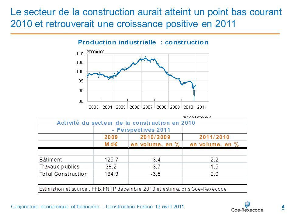 4 Le secteur de la construction aurait atteint un point bas courant 2010 et retrouverait une croissance positive en 2011 Conjoncture économique et fin