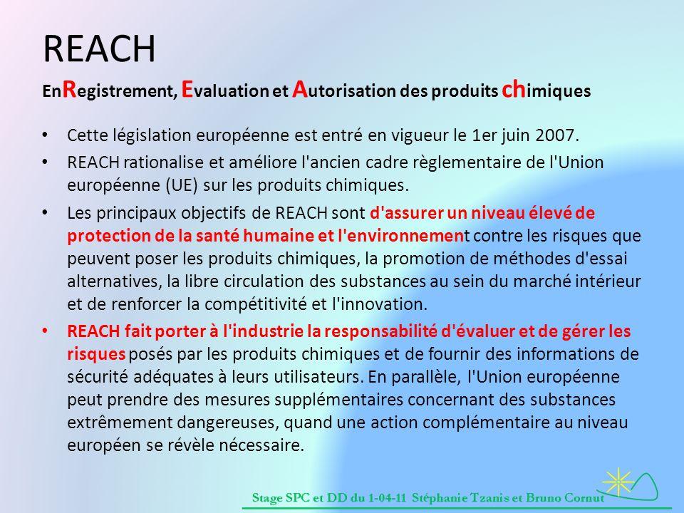 REACH En R egistrement, E valuation et A utorisation des produits ch imiques Cette législation européenne est entré en vigueur le 1er juin 2007.