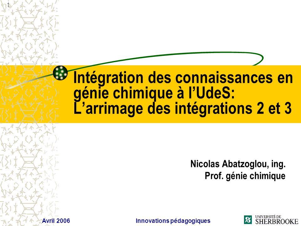 Avril 2006 Innovations pédagogiques 1 Intégration des connaissances en génie chimique à lUdeS: Larrimage des intégrations 2 et 3 Nicolas Abatzoglou, ing.