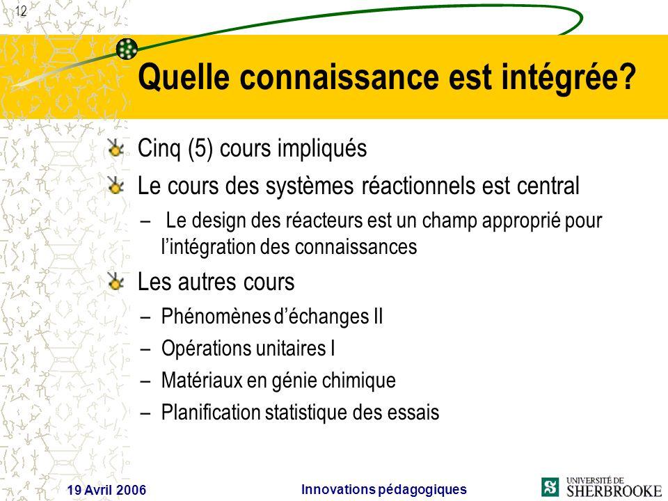 12 19 Avril 2006 Innovations pédagogiques Quelle connaissance est intégrée.