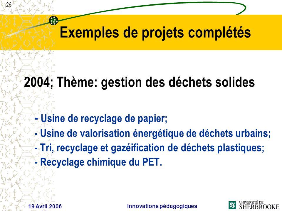 26 19 Avril 2006 Innovations pédagogiques 2004; Thème: gestion des déchets solides - Usine de recyclage de papier; - Usine de valorisation énergétique de déchets urbains; - Tri, recyclage et gazéification de déchets plastiques; - Recyclage chimique du PET.
