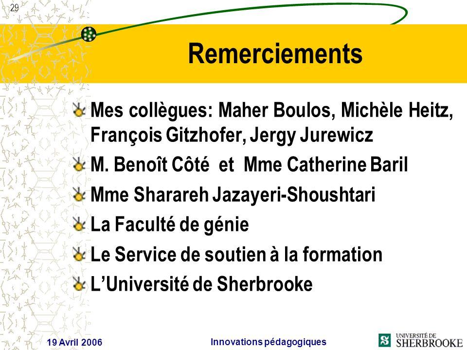 29 19 Avril 2006 Innovations pédagogiques Remerciements Mes collègues: Maher Boulos, Michèle Heitz, François Gitzhofer, Jergy Jurewicz M.