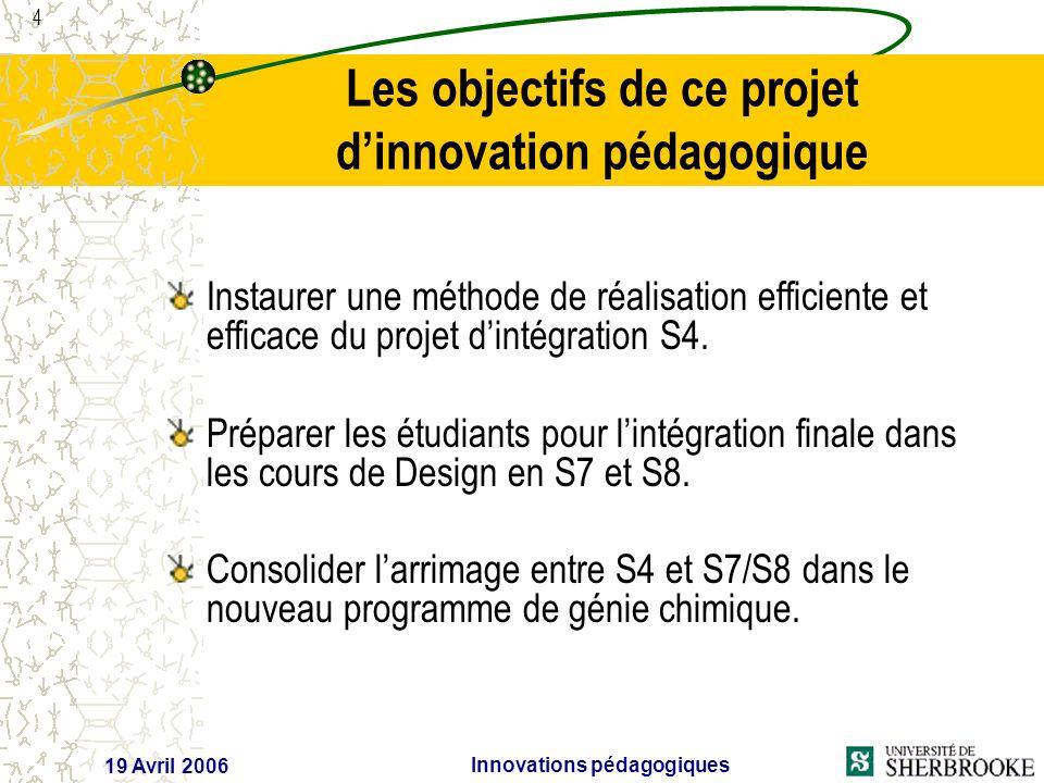 4 19 Avril 2006 Innovations pédagogiques Les objectifs de ce projet dinnovation pédagogique Instaurer une méthode de réalisation efficiente et efficace du projet dintégration S4.