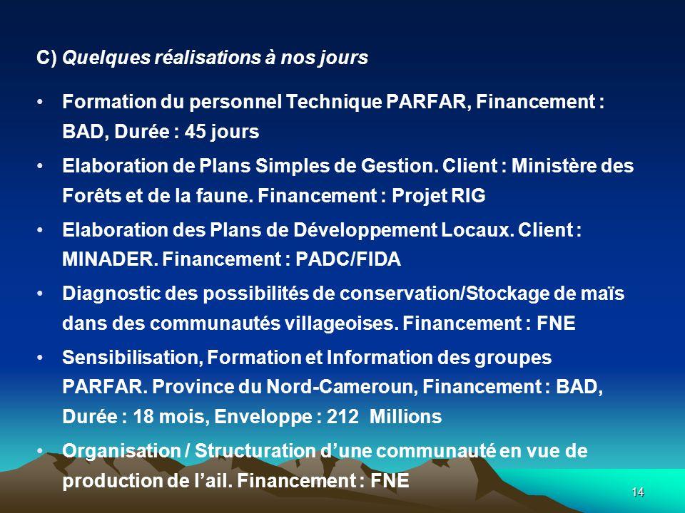 14 C) Quelques réalisations à nos jours Formation du personnel Technique PARFAR, Financement : BAD, Durée : 45 jours Elaboration de Plans Simples de Gestion.