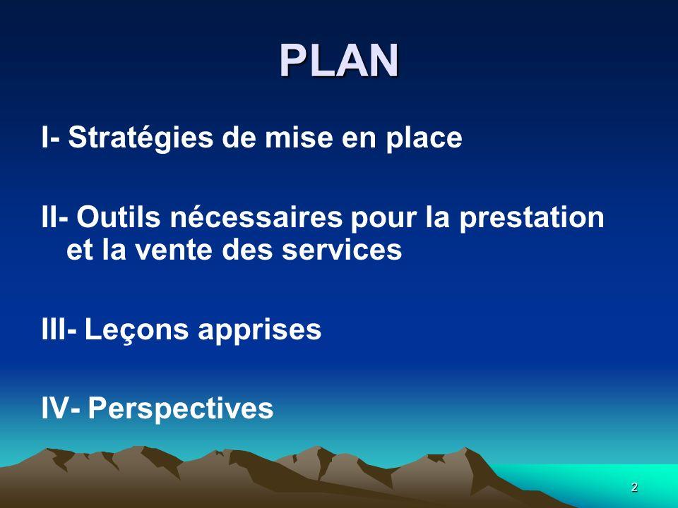2 PLAN I- Stratégies de mise en place II- Outils nécessaires pour la prestation et la vente des services III- Leçons apprises IV- Perspectives