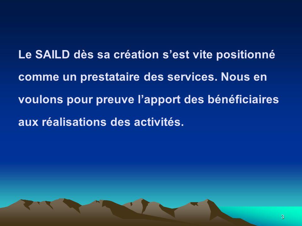 3 Le SAILD dès sa création sest vite positionné comme un prestataire des services. Nous en voulons pour preuve lapport des bénéficiaires aux réalisati
