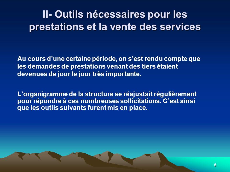 6 II- Outils nécessaires pour les prestations et la vente des services Au cours dune certaine période, on sest rendu compte que les demandes de prestations venant des tiers étaient devenues de jour le jour très importante.