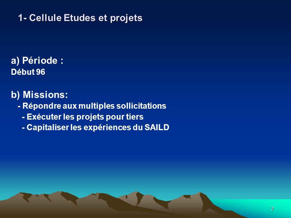 7 1- Cellule Etudes et projets a) Période : Début 96 b) Missions: - Répondre aux multiples sollicitations - Exécuter les projets pour tiers - Capitaliser les expériences du SAILD