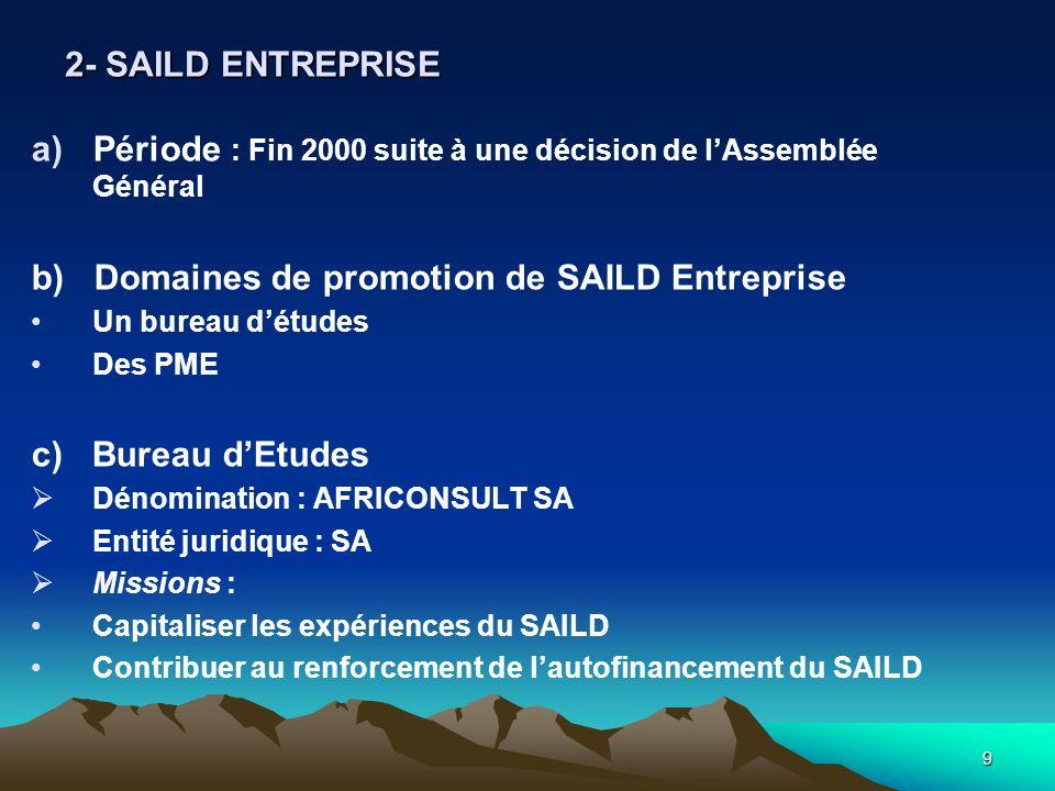 9 a)Période : Fin 2000 suite à une décision de lAssemblée Général b) Domaines de promotion de SAILD Entreprise Un bureau détudes Des PME c) Bureau dEt