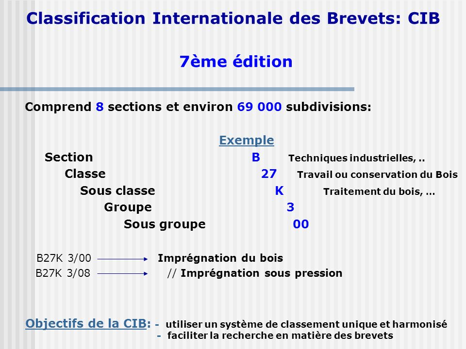 Classification Internationale des Brevets: CIB 7ème édition Comprend 8 sections et environ 69 000 subdivisions: Exemple Section B Techniques industrie
