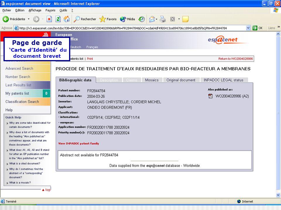 Page de garde Carte dIdentité dIdentité du document brevet
