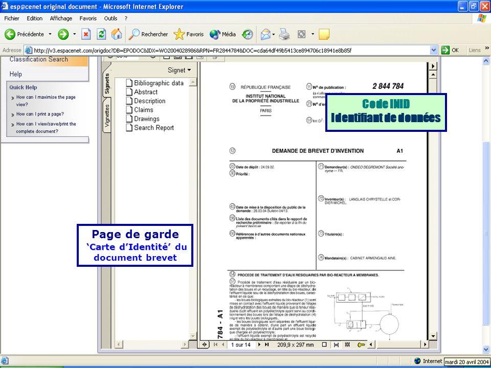 Page de garde Carte dIdentité Carte dIdentité du document brevet Code INID Identifiant de données