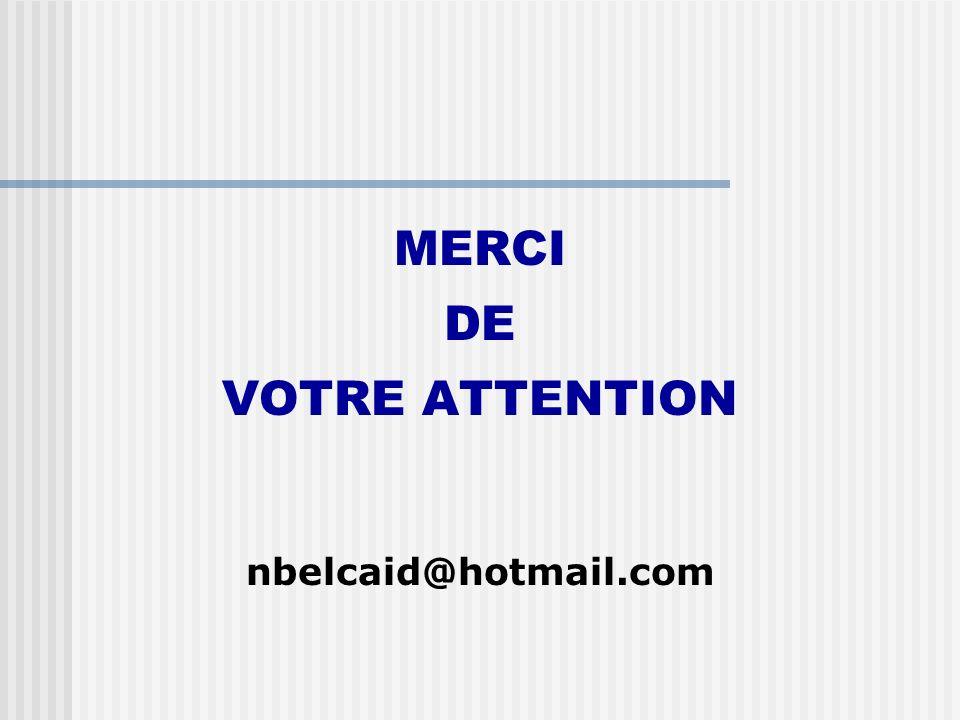 MERCI DE VOTRE ATTENTION nbelcaid@hotmail.com