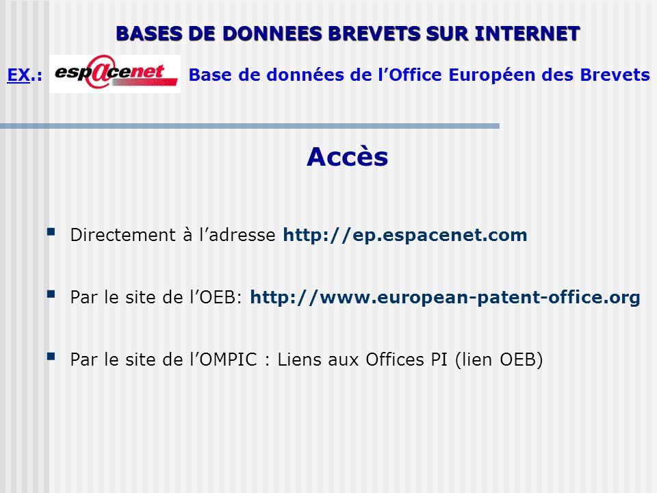 Accès Directement à ladresse http://ep.espacenet.com Par le site de lOEB: http://www.european-patent-office.org Par le site de lOMPIC : Liens aux Offi
