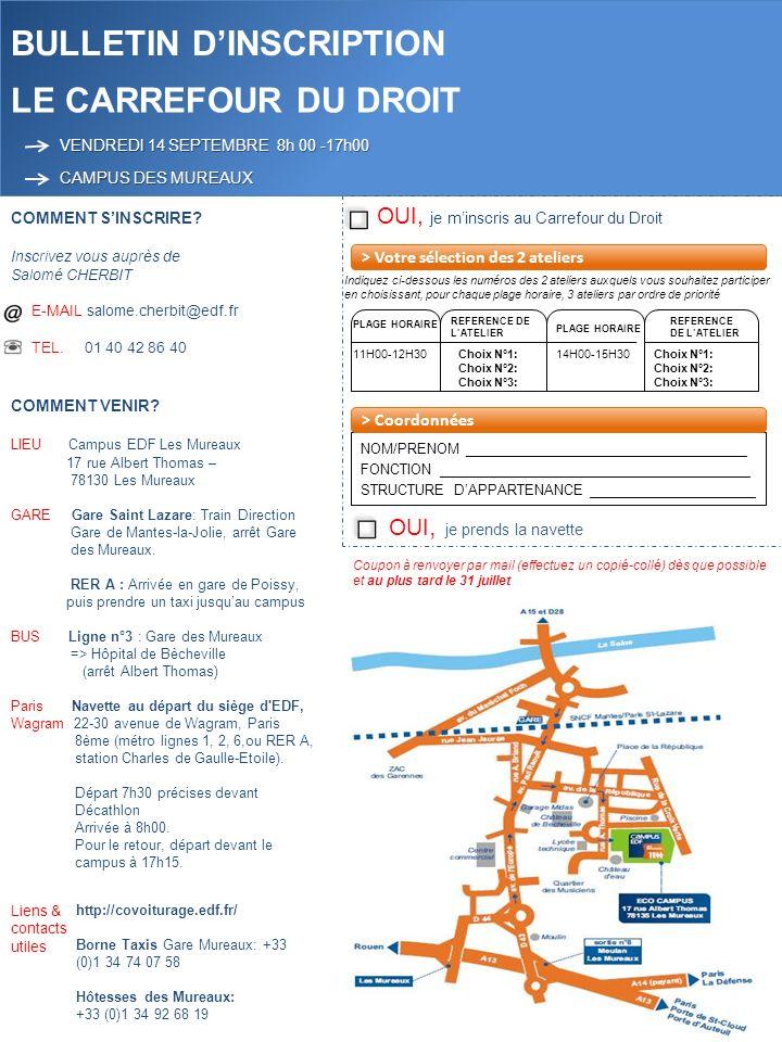 OUI, je minscris au Carrefour du Droit BULLETIN DINSCRIPTION LE CARREFOUR DU DROIT VENDREDI 14 SEPTEMBRE 8h 00 -17h00 CAMPUS DES MUREAUX COMMENT SINSCRIRE.