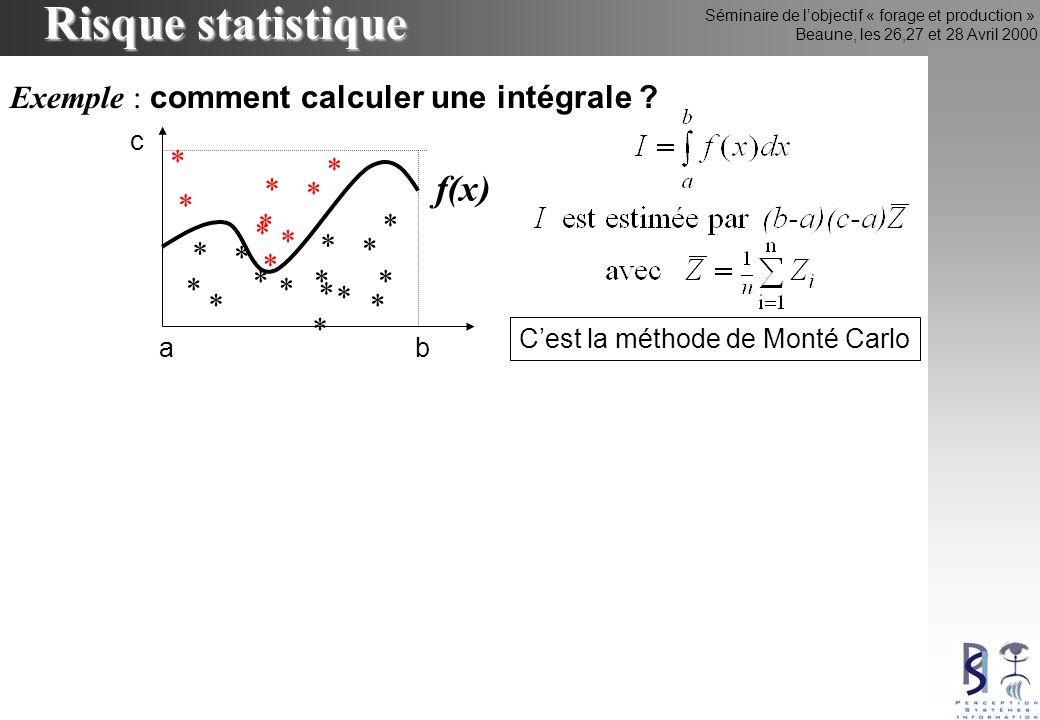 Séminaire de lobjectif « forage et production » Beaune, les 26,27 et 28 Avril 2000 Risque statistique * * Exemple : comment calculer une intégrale ? a