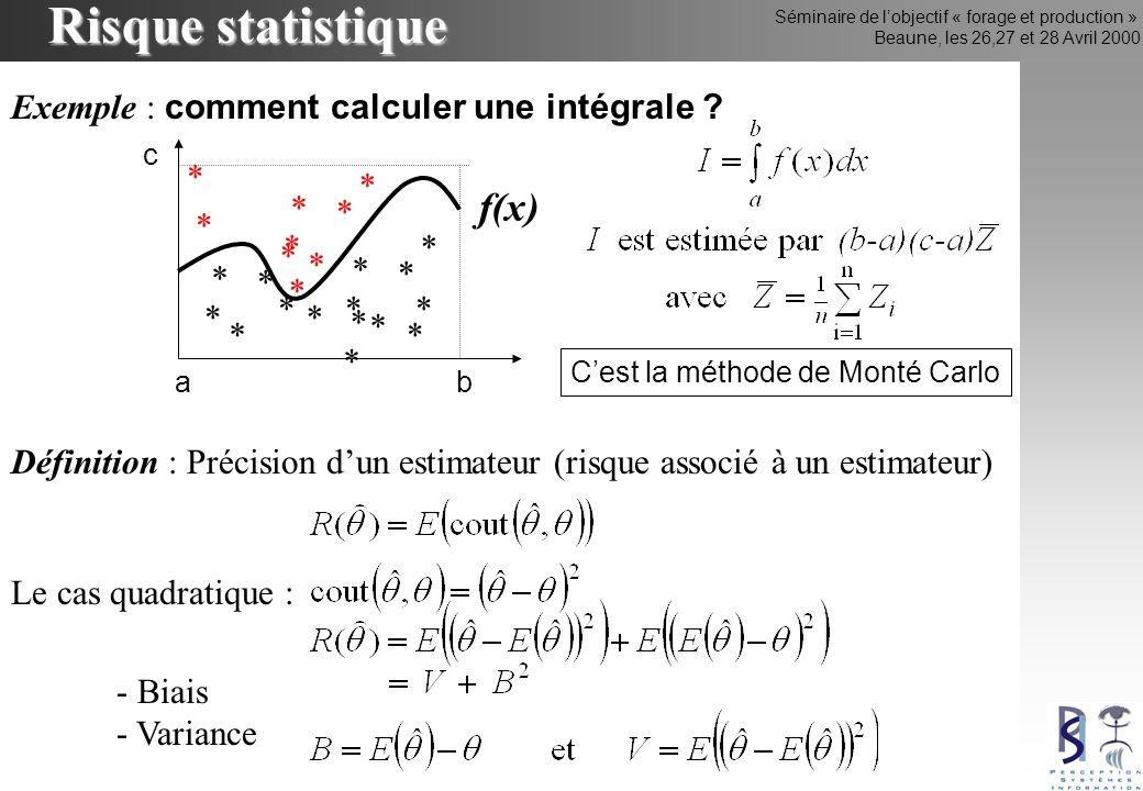 Séminaire de lobjectif « forage et production » Beaune, les 26,27 et 28 Avril 2000 Risque statistique Définition : Précision dun estimateur (risque associé à un estimateur) Le cas quadratique : - Biais - Variance * * Exemple : comment calculer une intégrale .