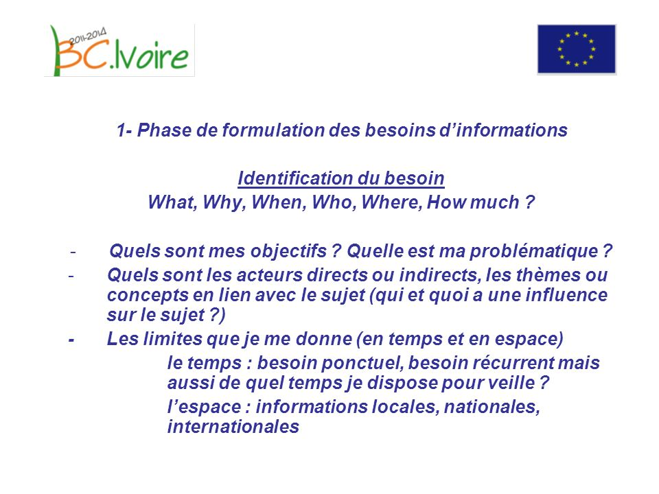 1- Phase de formulation des besoins dinformations Identification du besoin What, Why, When, Who, Where, How much .