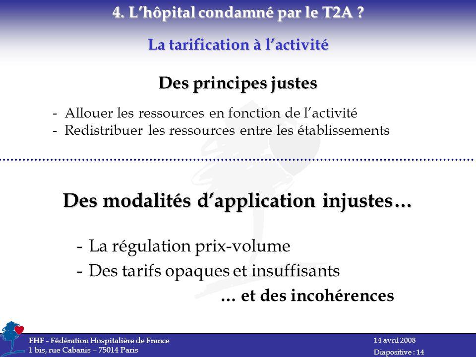 14 avril 2008 FHF - Fédération Hospitalière de France 1 bis, rue Cabanis – 75014 Paris Diapositive : 14 La tarification à lactivité 4.