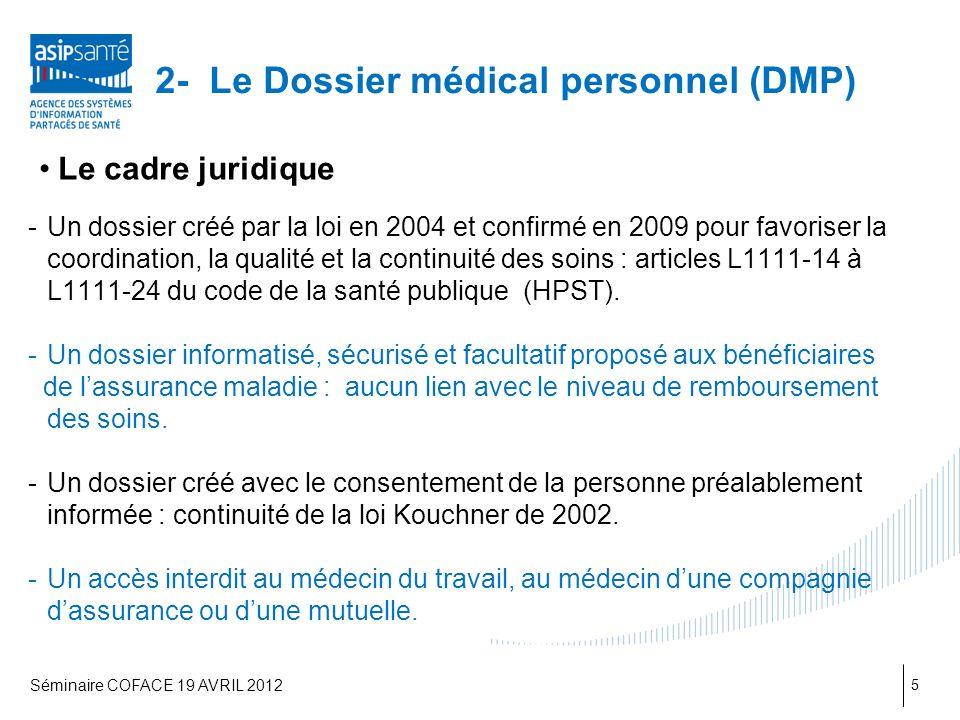 2- Le Dossier médical personnel (DMP) Le cadre juridique -Un dossier créé par la loi en 2004 et confirmé en 2009 pour favoriser la coordination, la qualité et la continuité des soins : articles L1111-14 à L1111-24 du code de la santé publique (HPST).