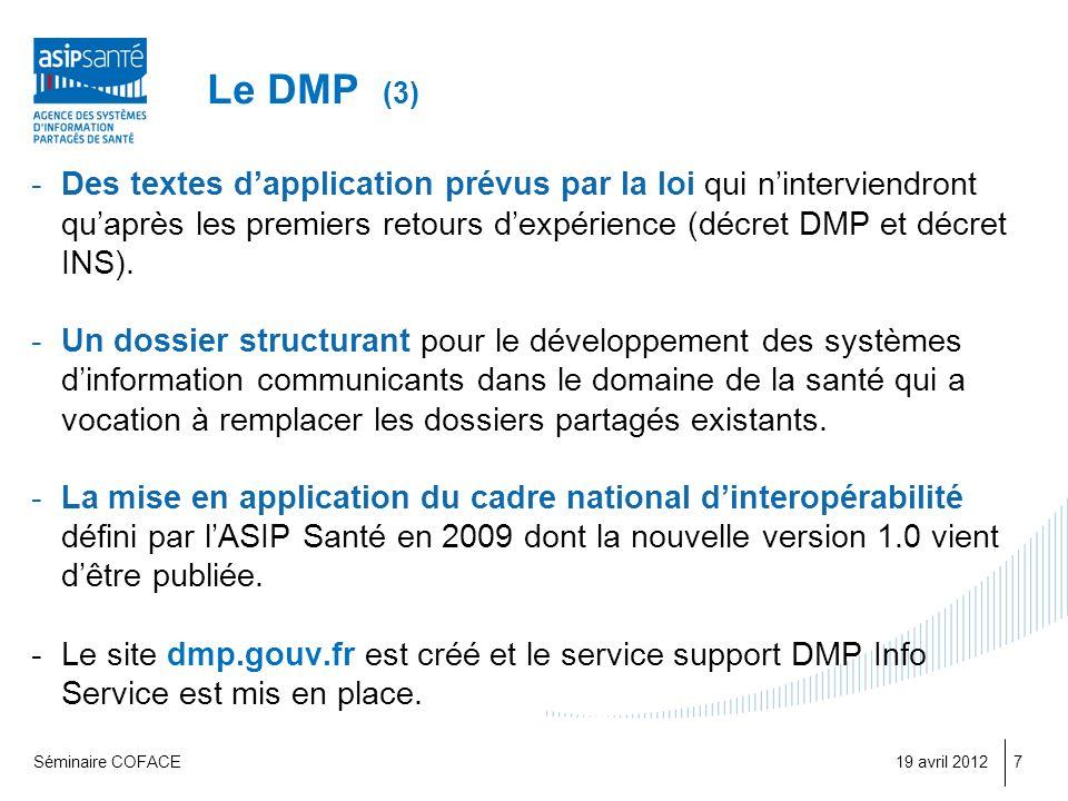 Le DMP (3) -Des textes dapplication prévus par la loi qui ninterviendront quaprès les premiers retours dexpérience (décret DMP et décret INS).