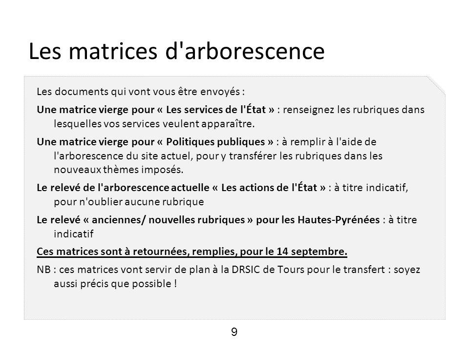 Les matrices d'arborescence Les documents qui vont vous être envoyés : Une matrice vierge pour « Les services de l'État » : renseignez les rubriques d