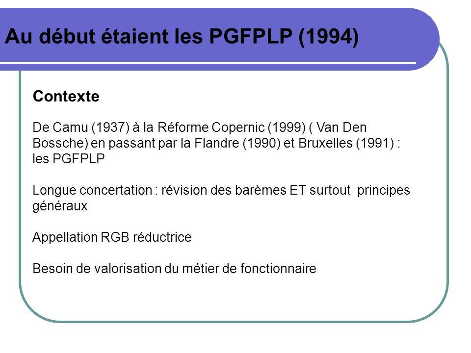Au début étaient les PGFPLP (1994) Contexte De Camu (1937) à la Réforme Copernic (1999) ( Van Den Bossche) en passant par la Flandre (1990) et Bruxell