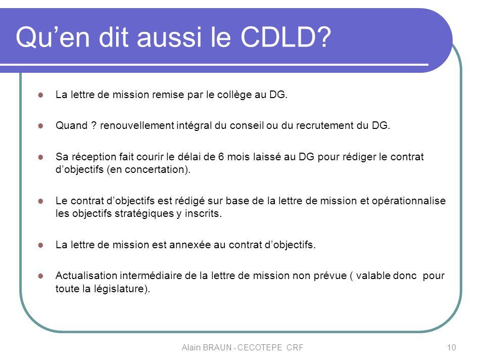 Quen dit aussi le CDLD? La lettre de mission remise par le collège au DG. Quand ? renouvellement intégral du conseil ou du recrutement du DG. Sa récep