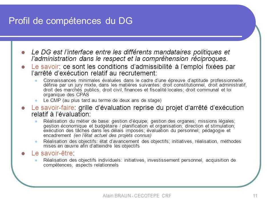 Profil de compétences du DG Le DG est linterface entre les différents mandataires politiques et ladministration dans le respect et la compréhension ré