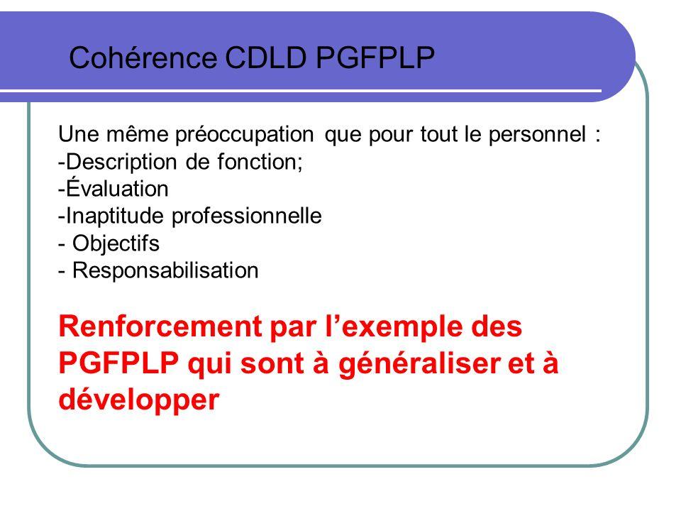 Cohérence CDLD PGFPLP Une même préoccupation que pour tout le personnel : -Description de fonction; -Évaluation -Inaptitude professionnelle - Objectif