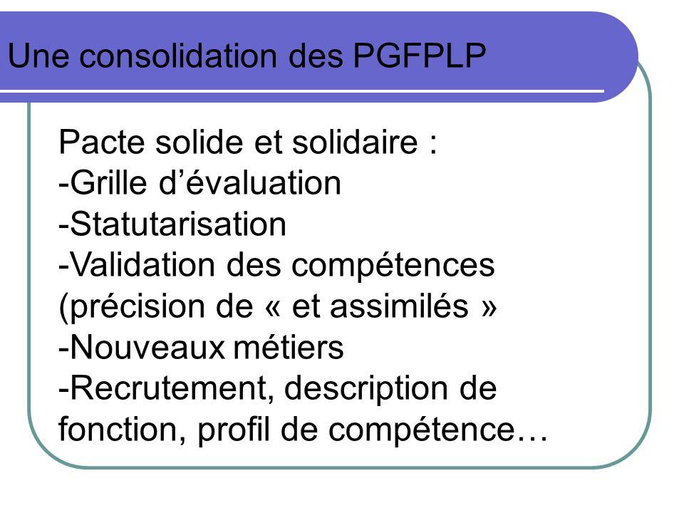 Une consolidation des PGFPLP Pacte solide et solidaire : -Grille dévaluation -Statutarisation -Validation des compétences (précision de « et assimilés