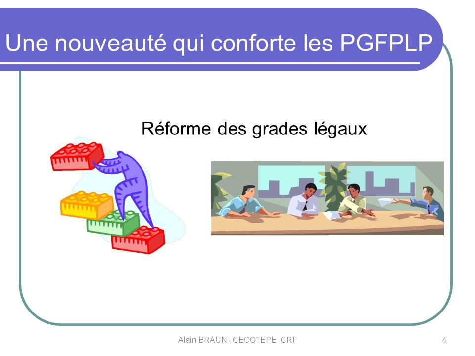 Une nouveauté qui conforte les PGFPLP 4Alain BRAUN - CECOTEPE CRF Réforme des grades légaux