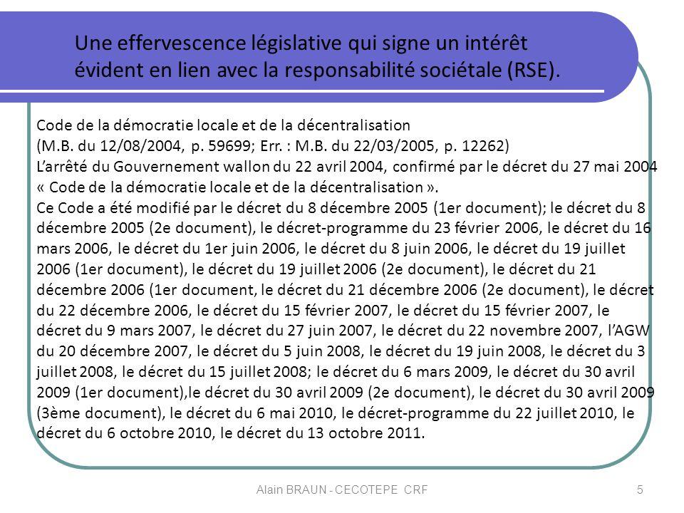 Code de la démocratie locale et de la décentralisation (M.B. du 12/08/2004, p. 59699; Err. : M.B. du 22/03/2005, p. 12262) Larrêté du Gouvernement wal