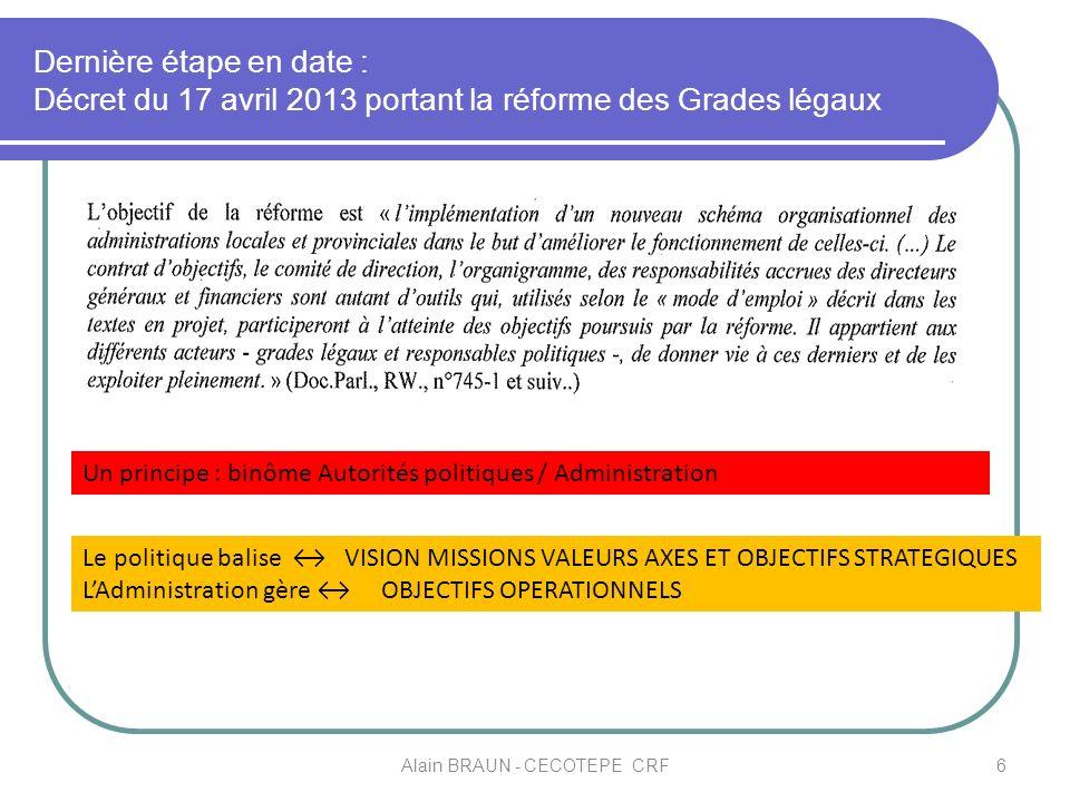Dernière étape en date : Décret du 17 avril 2013 portant la réforme des Grades légaux 6 Un principe : binôme Autorités politiques / Administration Le
