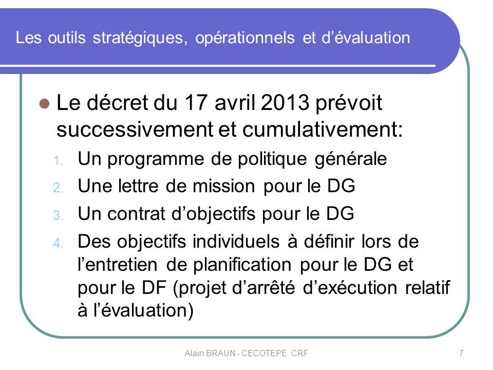 Les outils stratégiques, opérationnels et dévaluation Le décret du 17 avril 2013 prévoit successivement et cumulativement: 1. Un programme de politiqu