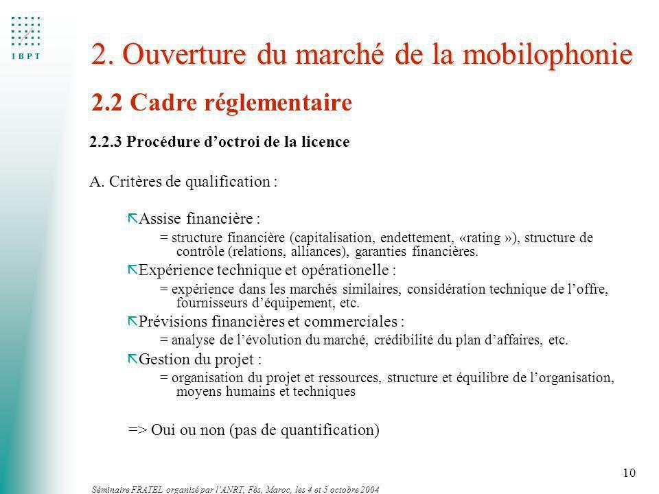 Séminaire FRATEL organisé par lANRT, Fès, Maroc, les 4 et 5 octobre 2004 10 2. Ouverture du marché de la mobilophonie 2.2.3 Procédure doctroi de la li