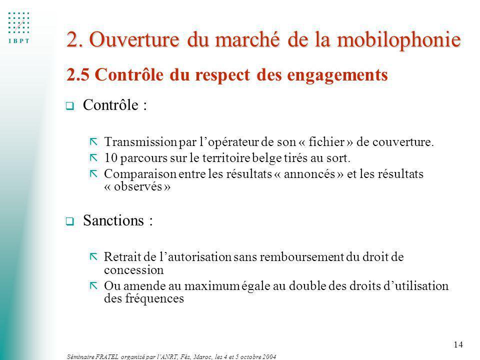 Séminaire FRATEL organisé par lANRT, Fès, Maroc, les 4 et 5 octobre 2004 14 2. Ouverture du marché de la mobilophonie q Contrôle : ã Transmission par