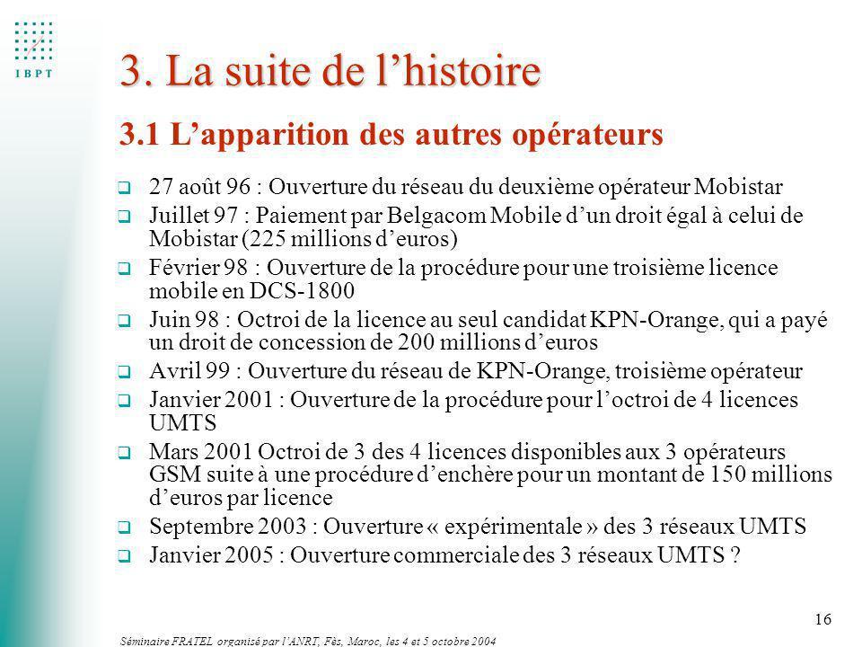 Séminaire FRATEL organisé par lANRT, Fès, Maroc, les 4 et 5 octobre 2004 16 3. La suite de lhistoire q 27 août 96 : Ouverture du réseau du deuxième op
