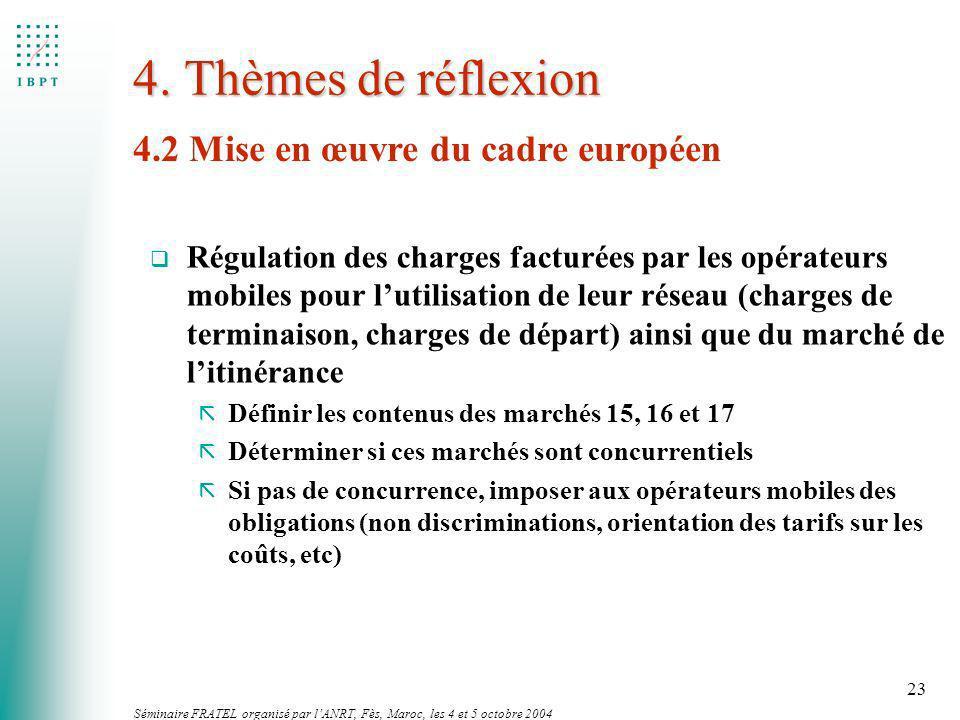 Séminaire FRATEL organisé par lANRT, Fès, Maroc, les 4 et 5 octobre 2004 23 4. Thèmes de réflexion 4.2 Mise en œuvre du cadre européen q Régulation de