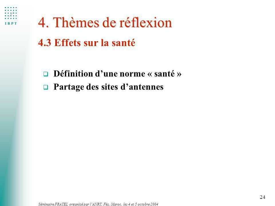 Séminaire FRATEL organisé par lANRT, Fès, Maroc, les 4 et 5 octobre 2004 24 4. Thèmes de réflexion 4.3 Effets sur la santé q Définition dune norme « s