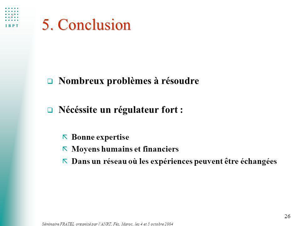 Séminaire FRATEL organisé par lANRT, Fès, Maroc, les 4 et 5 octobre 2004 26 5. Conclusion q Nombreux problèmes à résoudre q Nécéssite un régulateur fo