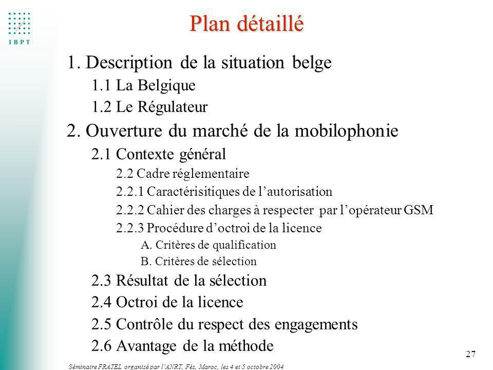Séminaire FRATEL organisé par lANRT, Fès, Maroc, les 4 et 5 octobre 2004 27 Plan détaillé 1. Description de la situation belge 1.1 La Belgique 1.2 Le