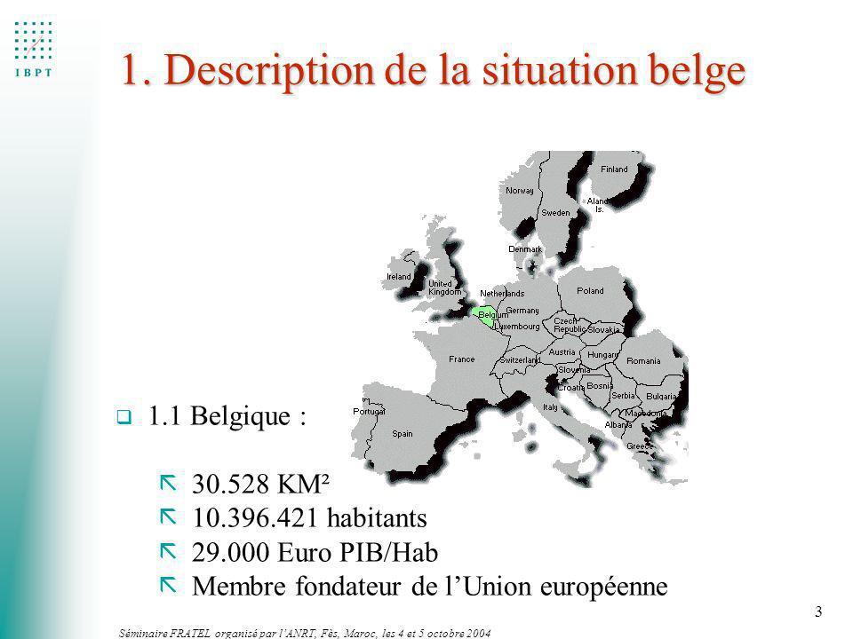 Séminaire FRATEL organisé par lANRT, Fès, Maroc, les 4 et 5 octobre 2004 3 1. Description de la situation belge q 1.1 Belgique : ã 30.528 KM² ã 10.396
