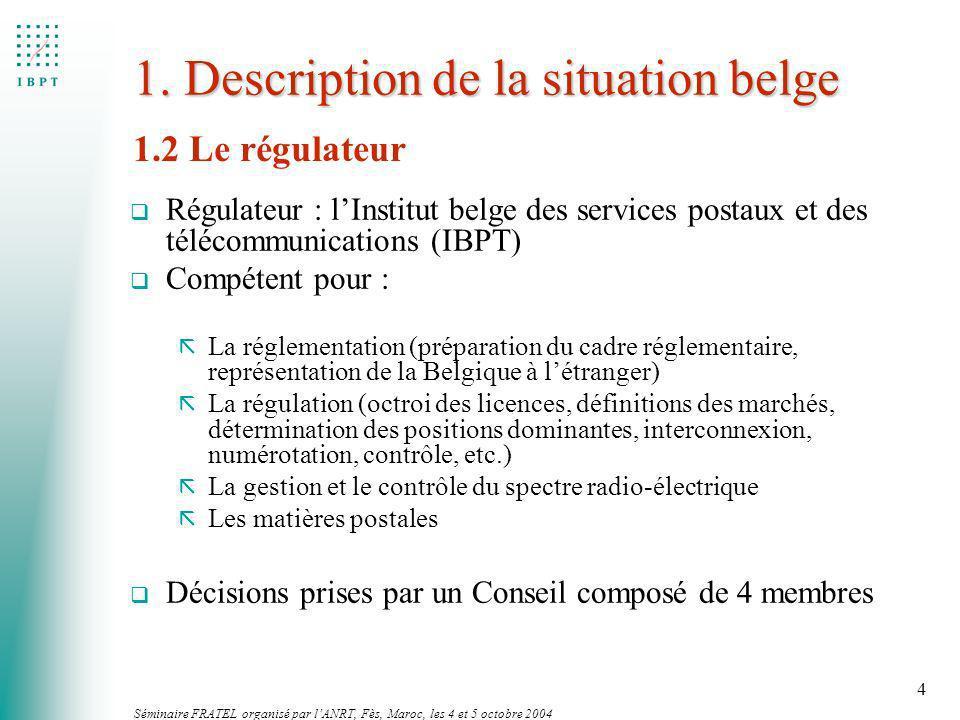 Séminaire FRATEL organisé par lANRT, Fès, Maroc, les 4 et 5 octobre 2004 4 1. Description de la situation belge q Régulateur : lInstitut belge des ser