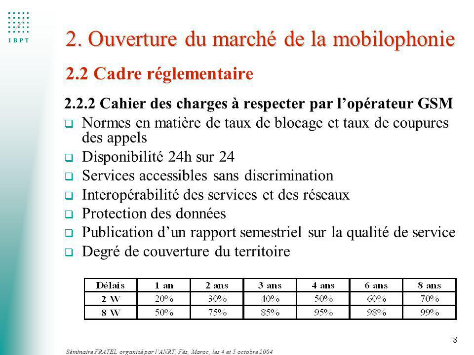 Séminaire FRATEL organisé par lANRT, Fès, Maroc, les 4 et 5 octobre 2004 8 2. Ouverture du marché de la mobilophonie 2.2.2 Cahier des charges à respec