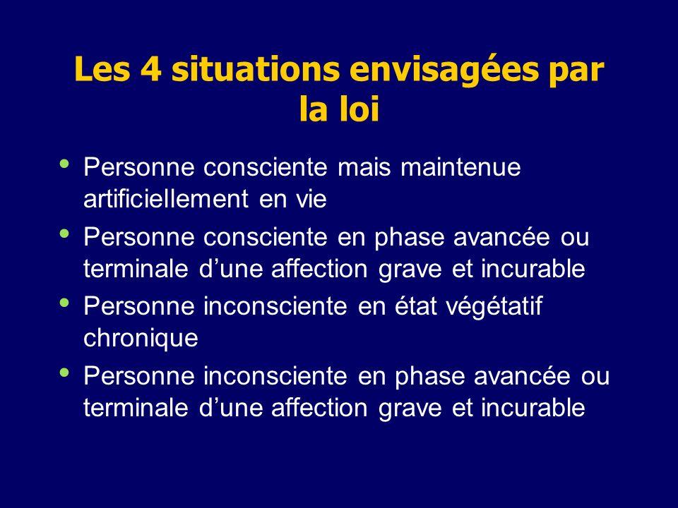 Les 4 situations envisagées par la loi Personne consciente mais maintenue artificiellement en vie Personne consciente en phase avancée ou terminale du