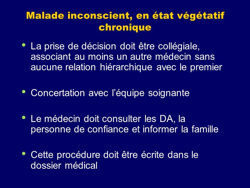 Malade inconscient, en état végétatif chronique La prise de décision doit être collégiale, associant au moins un autre médecin sans aucune relation hi
