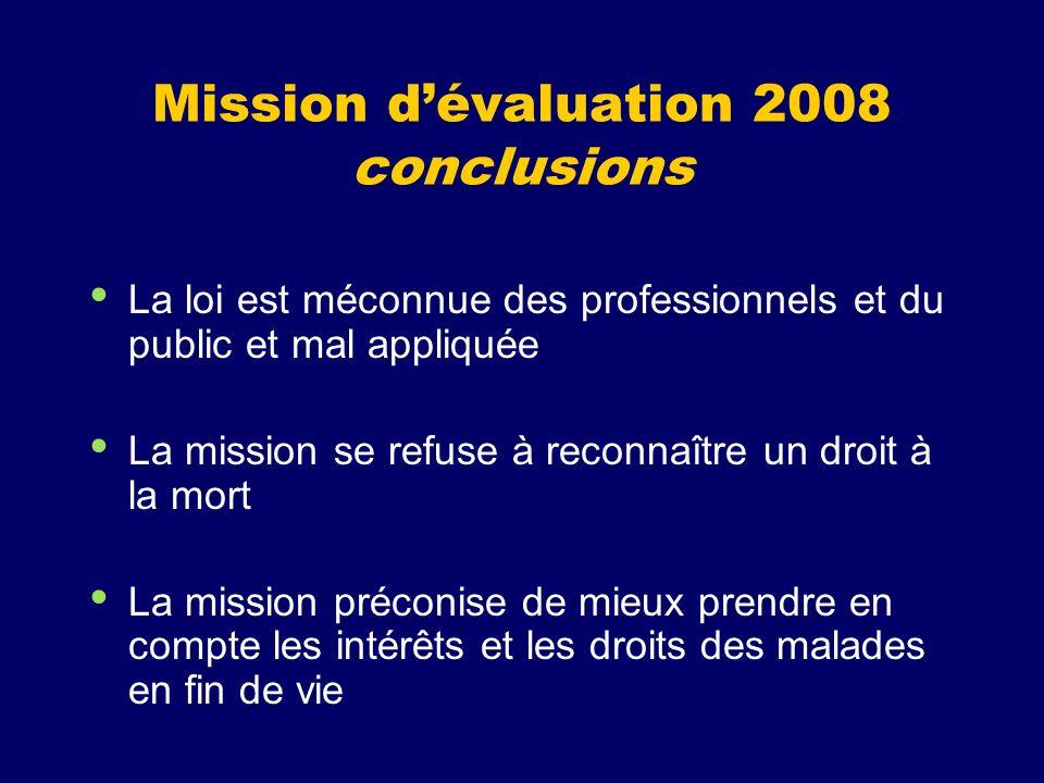 Mission dévaluation 2008 conclusions La loi est méconnue des professionnels et du public et mal appliquée La mission se refuse à reconnaître un droit