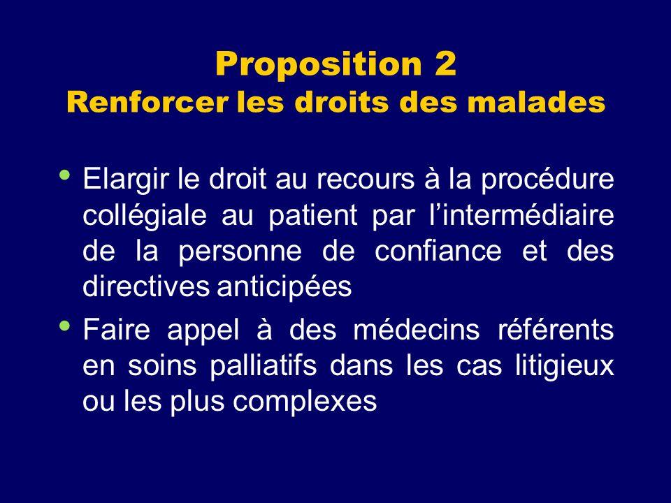 Proposition 2 Renforcer les droits des malades Elargir le droit au recours à la procédure collégiale au patient par lintermédiaire de la personne de c