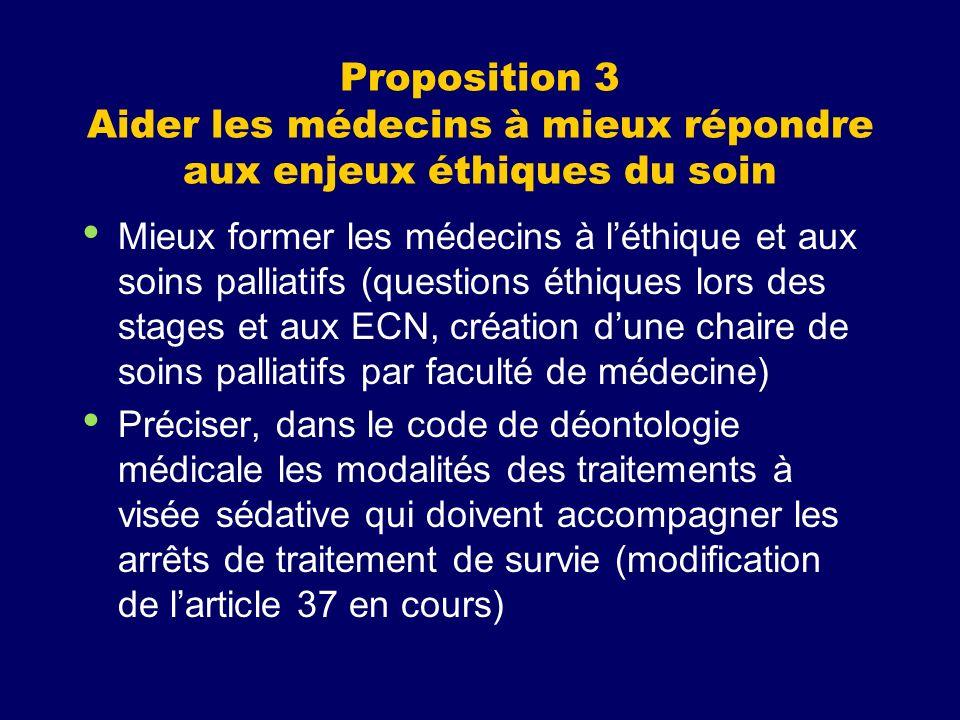 Proposition 3 Aider les médecins à mieux répondre aux enjeux éthiques du soin Mieux former les médecins à léthique et aux soins palliatifs (questions
